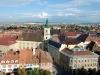Sibiu - Vedere din Turnul Bisericii Evangheliste (biserica catolica si primaria)